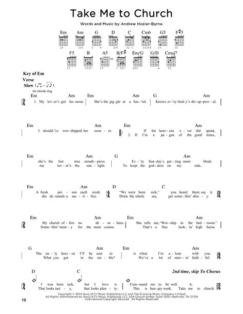 tutorial guitar take me to church take me to church sheet music by hozier guitar lead sheet