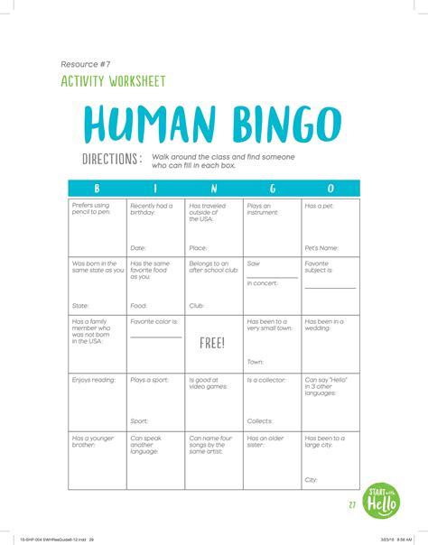 Human Bingo Card Template by Values Matter