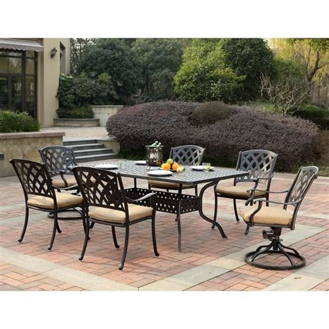 7pc Patio Dining Set Darlee View 7 Patio Dining Set In Antique Bronze 201630 7pc 30re