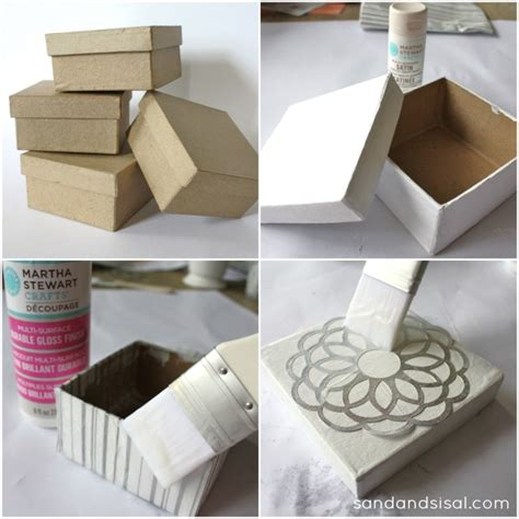 Make Paper Mache Boxes - decorative decoupage gift boxes sand and sisal