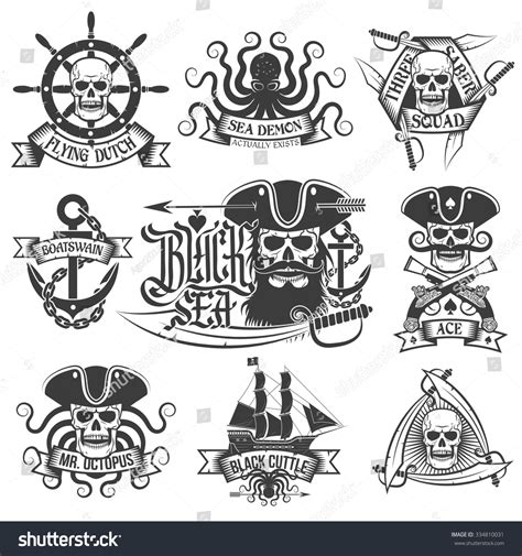 unique pirate tattoo logo set perfect for t shirt stock