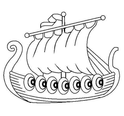 colored page viking boat painted by viking ship