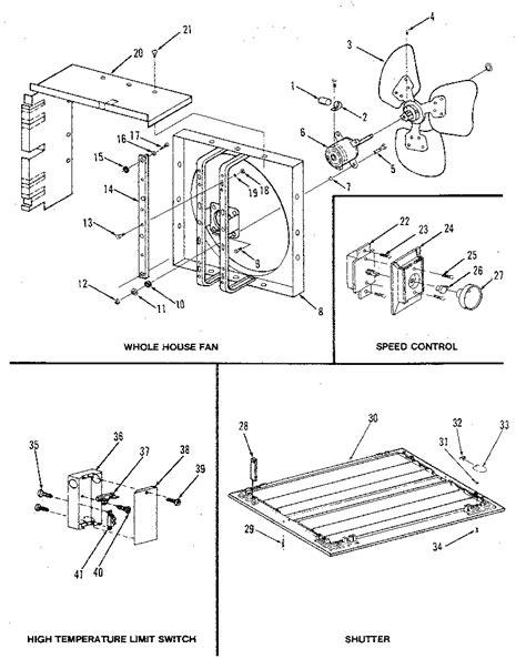 sears whole house fan switch kenmore whole house fan parts model 758644240 sears