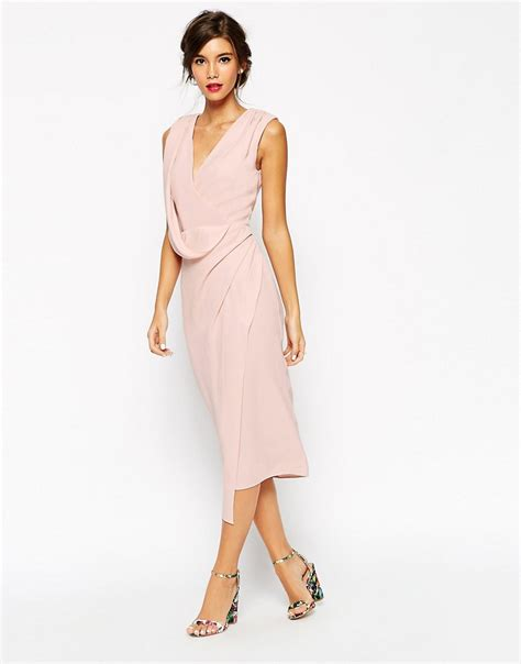 how to drape a dress asos asos wedding wrap drape midi dress at asos