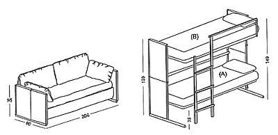 sofa becomes bunk bed sofa which becomes a bunk bed gigazine