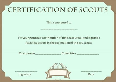 Cub Scout Advancement Card Templates by Scout Certificates Template 12 Free Printables In Word