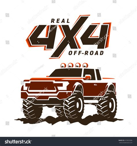 Auto Logo S 4x4 by Offroad Monster Truck Pickup 4x4 Logo Stock Vector