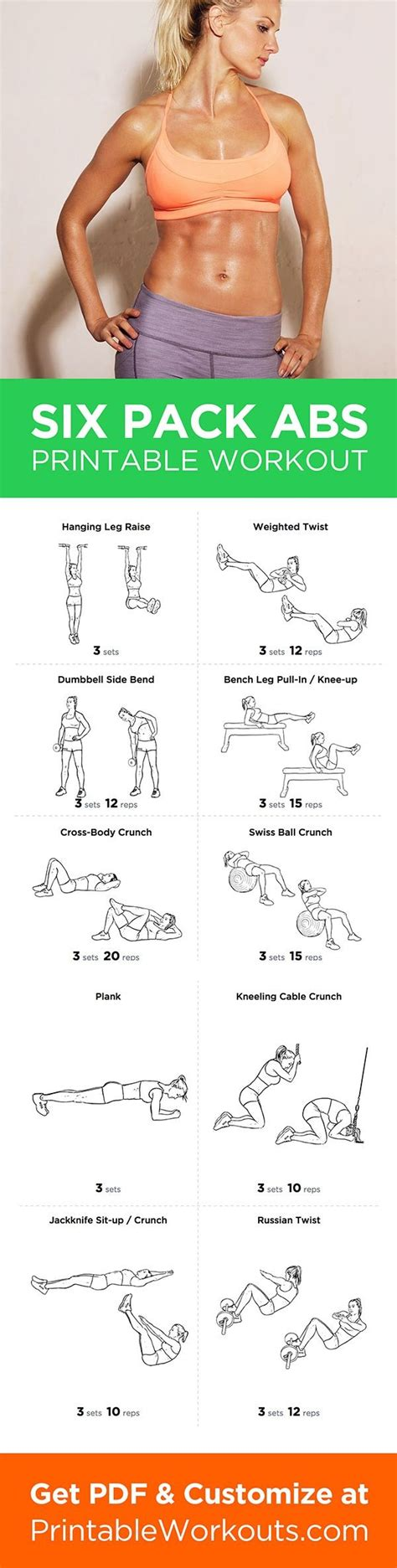 printable workout to customize and print six pack abs abdominal workout routine for and