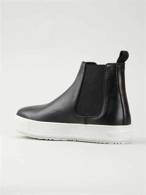 leather sneaker boots lyst neil barrett sneaker leather chelsea boots in black