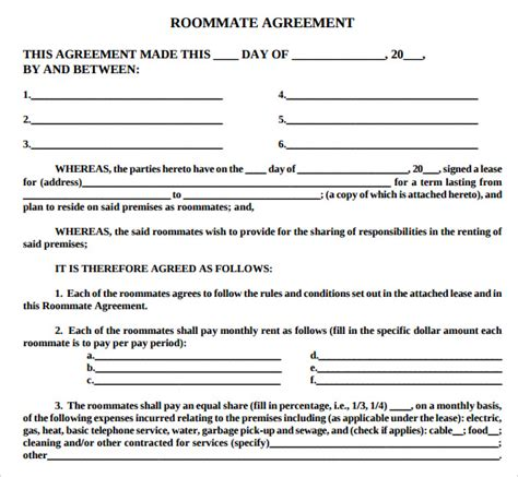roommate agreement template word roommate agreement template cyberuse