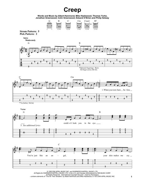 tutorial guitar creep creep sheet music by radiohead easy guitar tab 53469