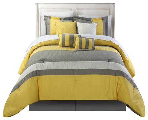 Yellow Bedding Sets King Diamante Yellow King 8 Comforter Bed In A Bag Set Contemporary Comforters And