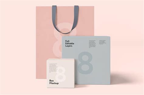 supermarket bag packing letter template box and bag mock up set 8psd product mockups creative