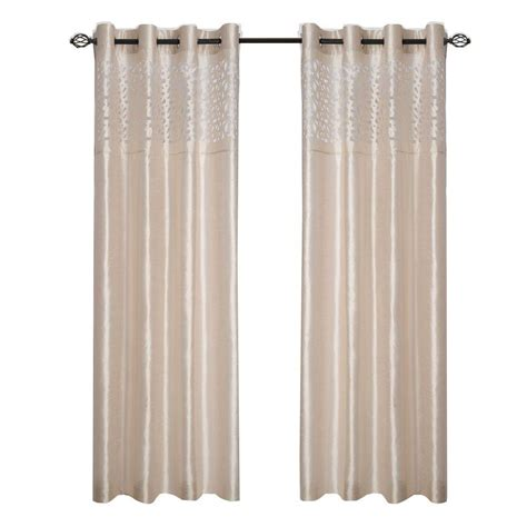 curtain panels 95 length lavish home beige karla laser cut grommet curtain panel