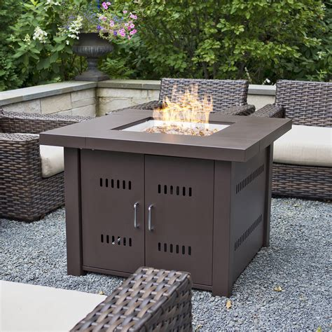 NEW Outdoor Fire Pit Square Table Firepit Propane Gas Fire