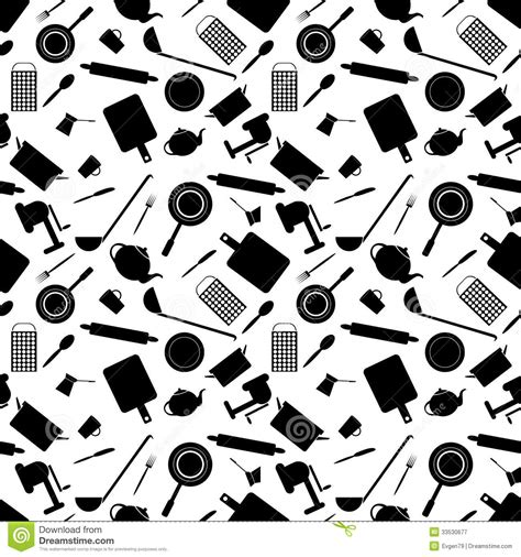 kitchen pattern background seamless pattern of kitchen tools royalty free stock