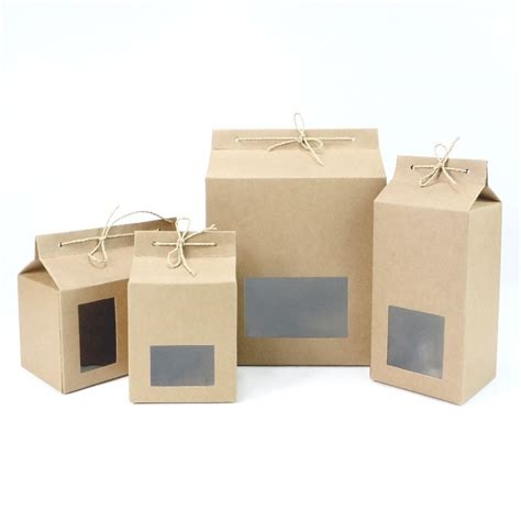 kraft paper window boxes thick brown kraft paper folding gift box with rectangular