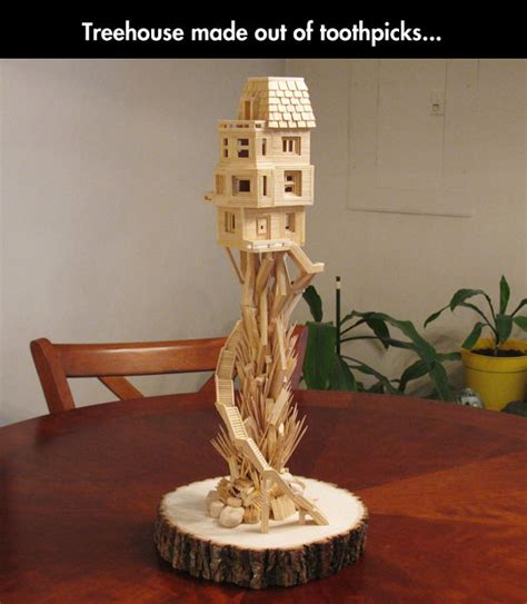 toothpick crafts for toothpick treehouse tree houses and craft