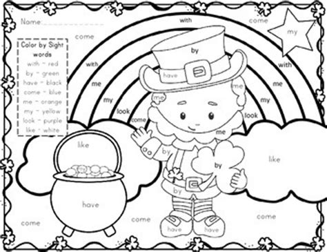 what was the original color of st day st s day freebie color by sight word by