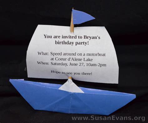 origami boat invitation birthday party archives susan s homeschool blog susan s