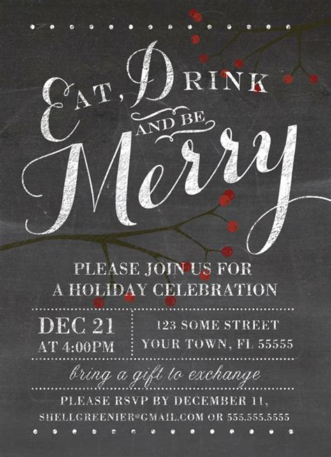 christmas invitation template winter chalkboard holiday