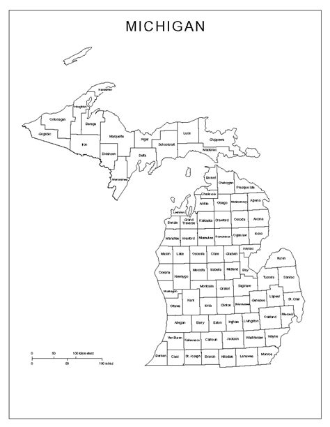 michigan counties map michigan labeled map
