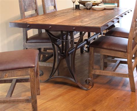 Iron Base Dining Table Antique Multicolor 79 Quot Dining Table With Iron Base