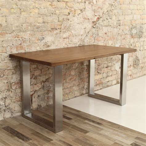 u shaped table legs stainless steel and wood dining table peenmedia com