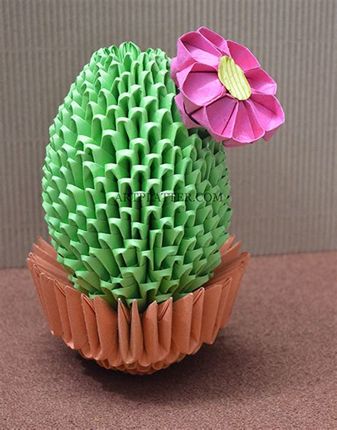 how to make origami cactus template popup card pdf 3d origami cactus with flower tutorial platter