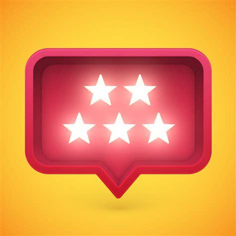 glowing rating stars  speech bubble vector illustration
