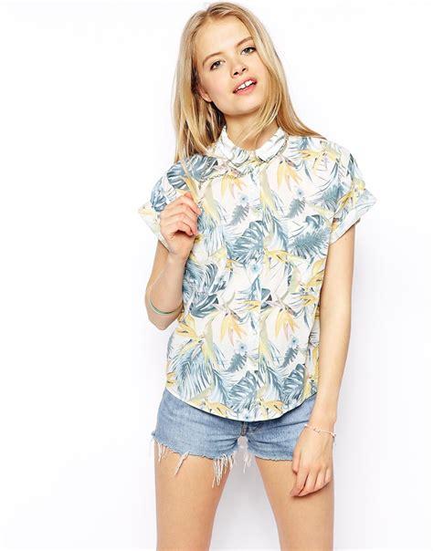 Cotton Boxy Shirt tropical boxy shirt cotton fabric womens casual shirts