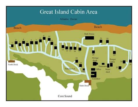Cabin Park Map by Great Island Cabins Rental Rates Cape Lookout National