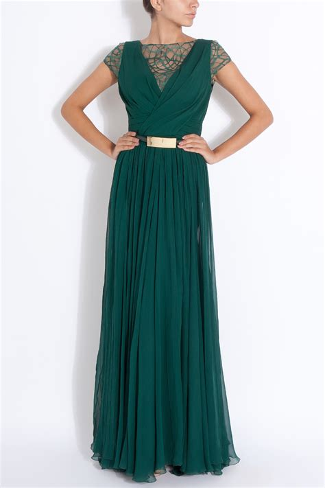 Green Tropez Gowv Dress lyst elie saab cap sleeves lace detail gown in green