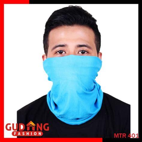 masker pengendara motor polyester microfibre biru muda