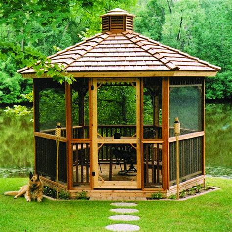 screened gazebo kits hexagon cedar gazebo kit 8ft w86