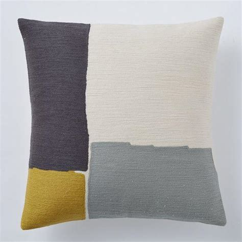 Crewel Pillow Covers steven alan abstract crewel grey and ivory and yellow