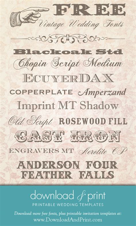 Wedding Font Print by Free Vintage Wedding Fonts And Print