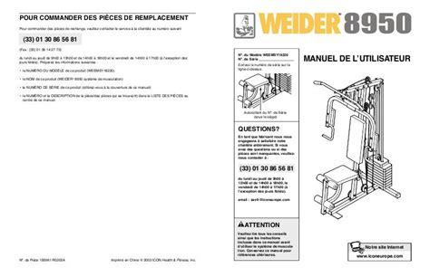 Notice Banc De Musculation by Notice Weider 8950 Mode D Emploi Notice 8950
