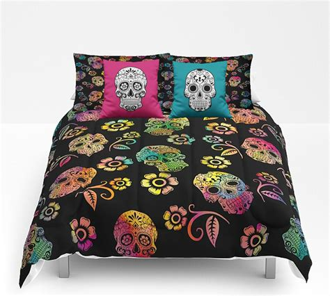 Day Of The Dead Comforter by Sugar Skull Comforter Set Duvet Cover Day Of The Dead Decor