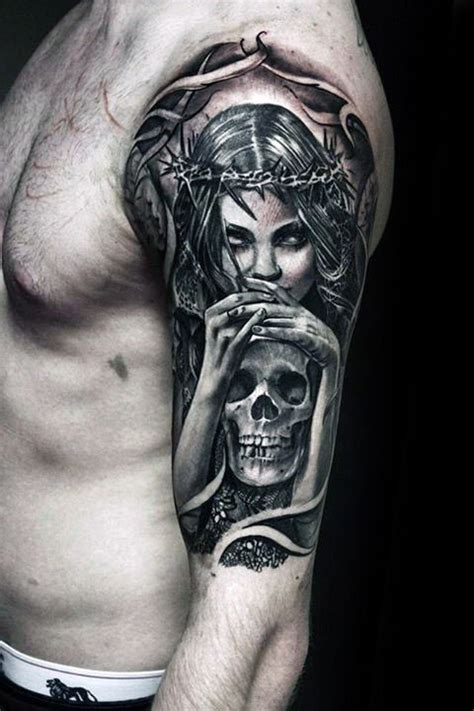 half woman half skull tattoo designs 50 designs for masculine ink ideas