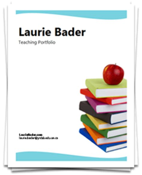 professional teaching portfolio template laurie bader