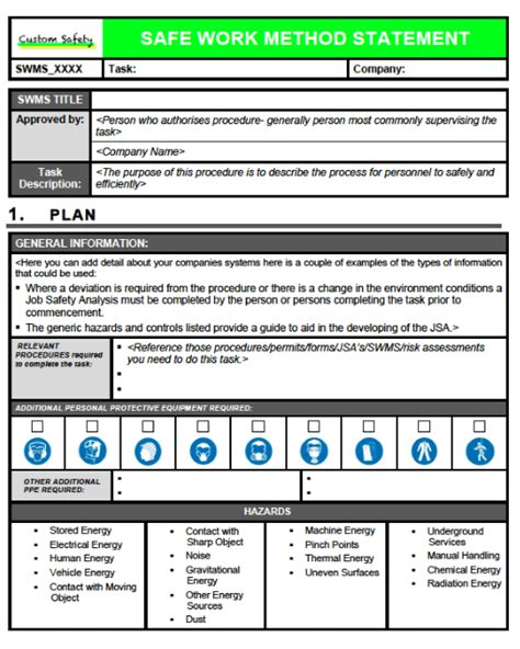 safe work method statement template workcover safe work method statement portrait