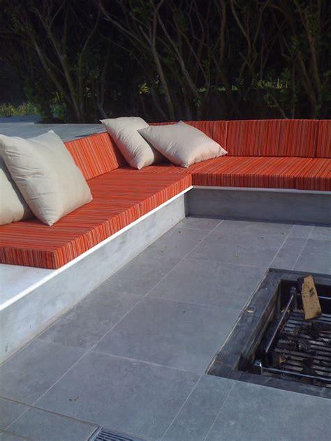 concrete seating bench innovative sunbrella cushions in patio contemporary with