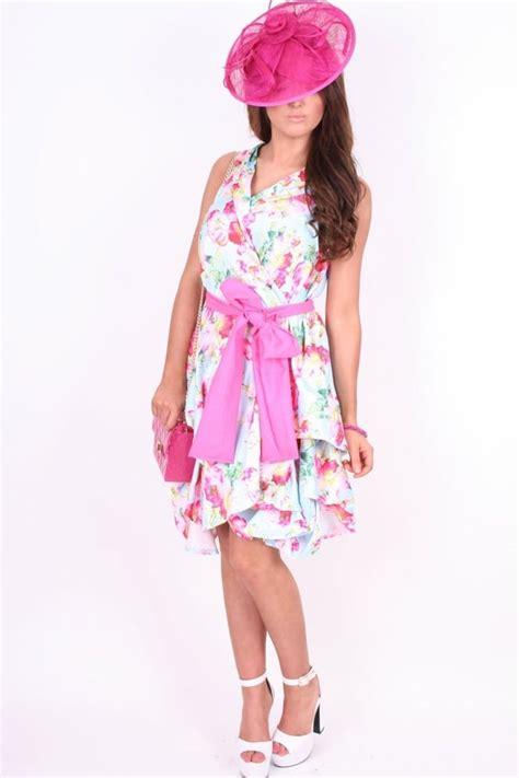Handmade Dresses Uk - handmade blue pink floral gathered wrap dress with tye