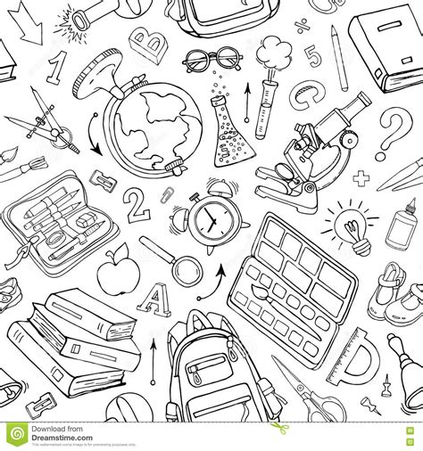 seamless doodle pattern free vector vector seamless pattern of doodle school supplies sketchy