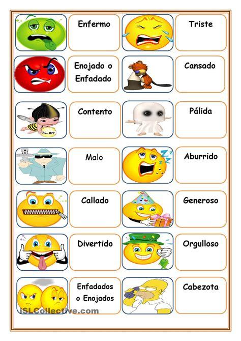 imagenes en ingles y su significado en español adjetivos 2do primaria pinterest emociones espa 241 ol
