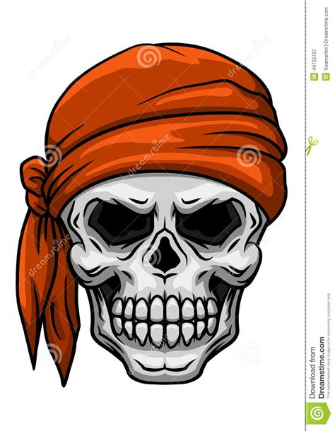 skull in orange bandana stock vector illustration of