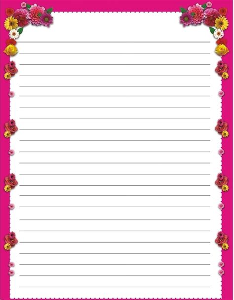 printable writing paper with border 8 best images of printable s day writing paper