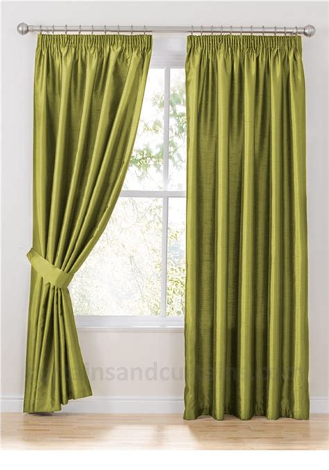 faux silk green curtains java green faux silk pencil pleat curtain