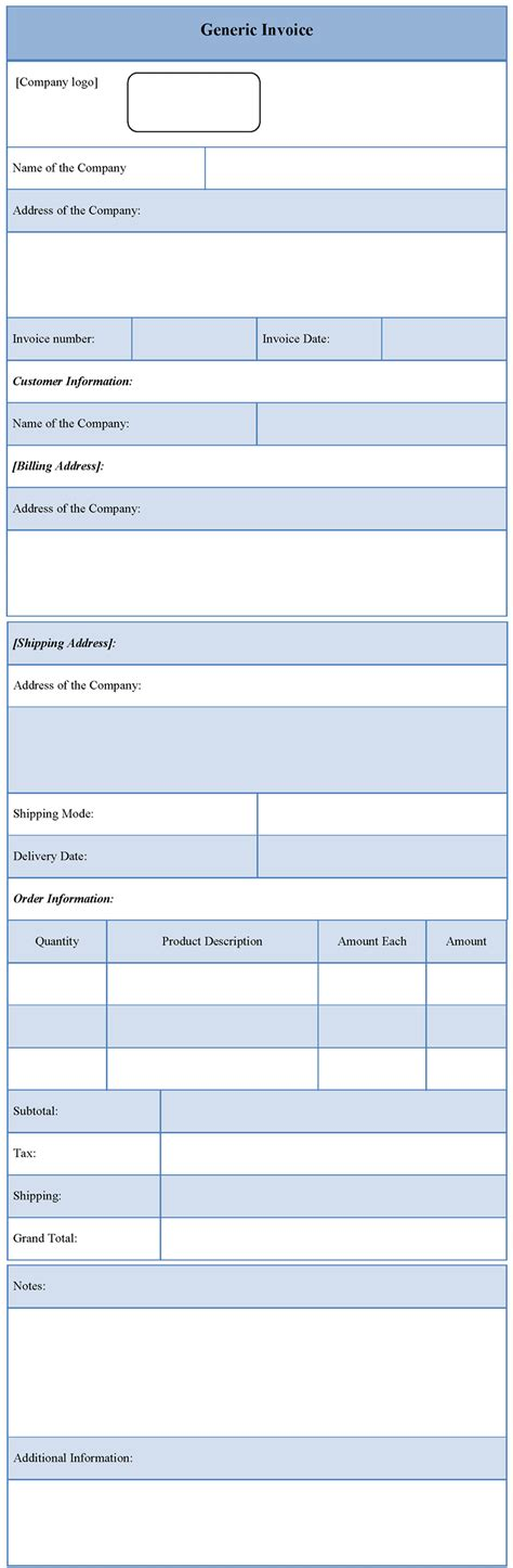 Invoice Template For Generic Template Of Generic Invoice Sle Templates Generic Invoice Template